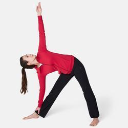 Damesvest voor pilates en lichte gym 500 opstaande kraag donkerrood