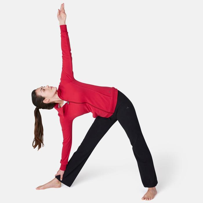 Trainingsjacke 500 Stehkragen Pilates sanfte Gymnastik Damen dunkelrot