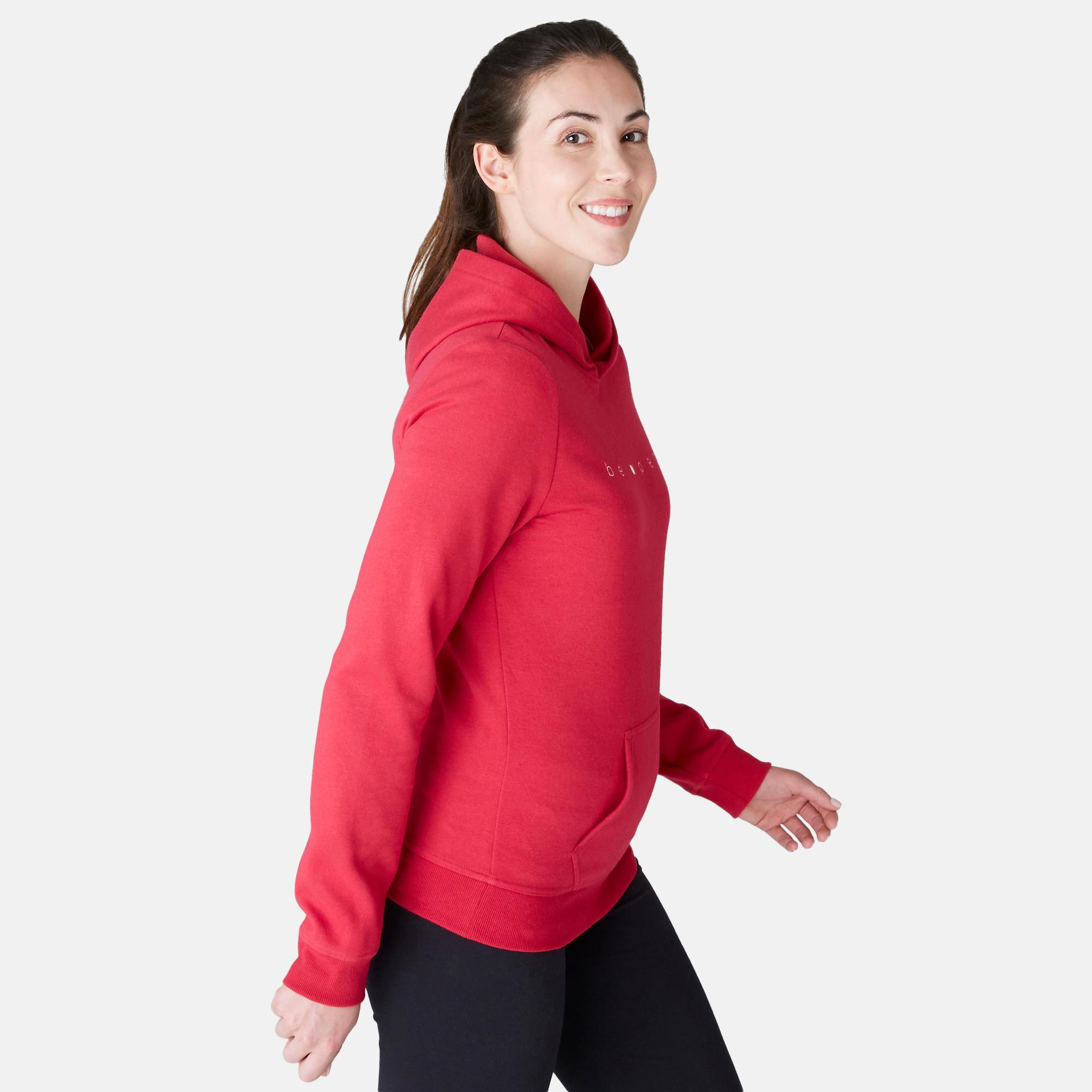 Sweat 520 capuche pilates gym douce femme rouge domyos