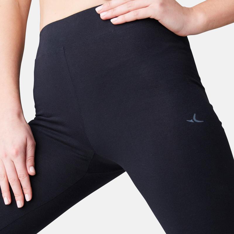 Women's Regular Fitness Leggings Fit+ 500 - Black