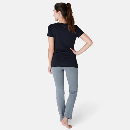 T-Shirt 500 régulier Pilates Gym douce femme noir