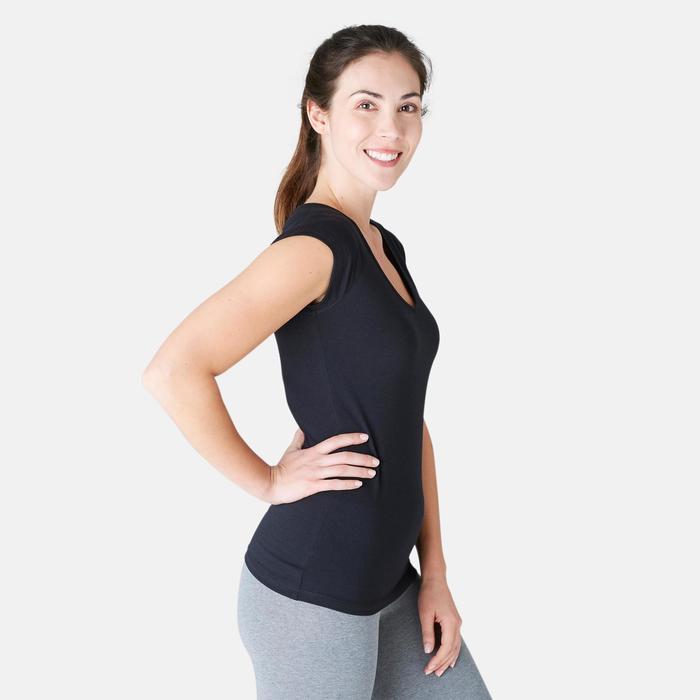 T-shirt 500 slim fit pilates en lichte gym dames zwart