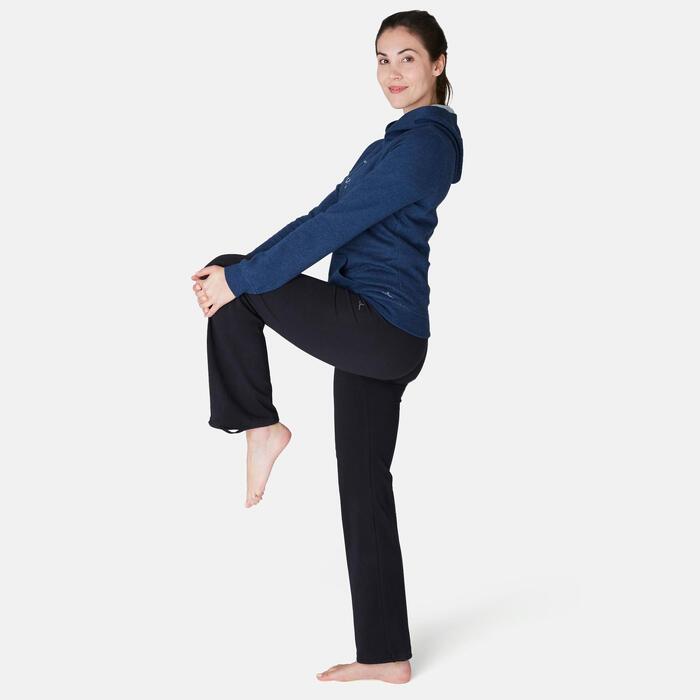 Dames hoodie voor pilates en lichte gym 520 blauw