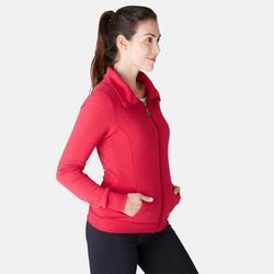 Chaqueta 500 cuello alto Pilates y Gimnasia suave mujer rojo oscuro