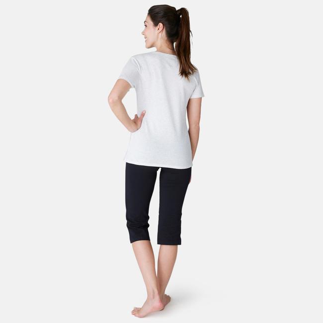 Women's Gym Cropped Leggings Regular Fit 500 - Black