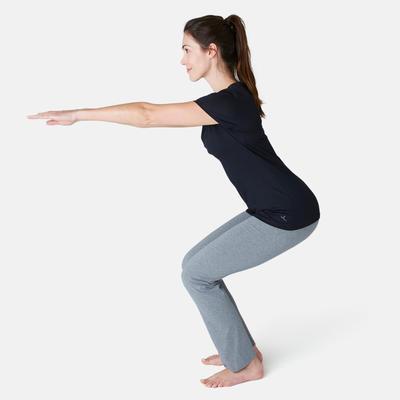 500 Women's Regular-Fit Gentle Gym & Pilates T-Shirt - Black