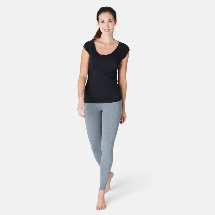 女款修身剪裁溫和健身與皮拉提斯T恤500 - 黑色
