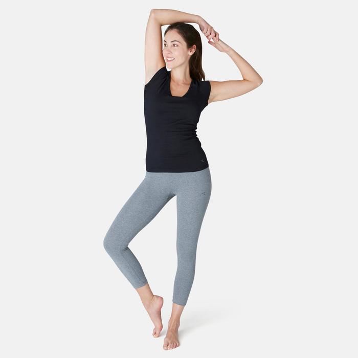 Legging 7/8 Fit+ 500 slim Pilates Gym douce femme gris chiné