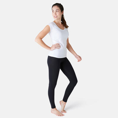 Mallas Leggings Deportivos Gimnasia Pilates Domyos FIT + 500 Slim Mujer Negro