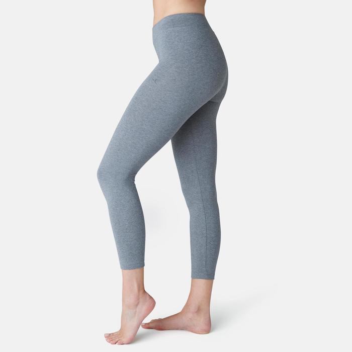 Legging court de sport taille haute Fit+500 femme 7/8 en coton gris