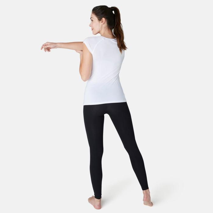 T-Shirt 500 Slim Pilates sanfte Gym Damen weiß