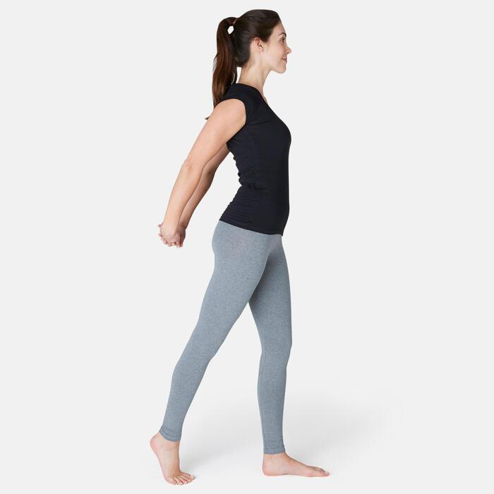 Leggings Fit+ 500 slim Pilates y Gimnasia suave mujer gris