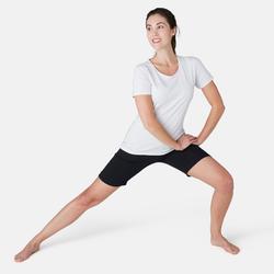 Malla Corta Short Gimnasia Pilates Domyos Fit+ 500 Regular Mujer Negro