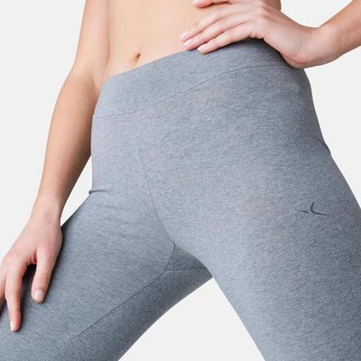 Leggings Pilates y Gimnasia suaveFit+ 500 regular mujer gris jaspeado