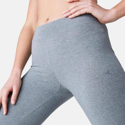 Legging Fit+ 500 regular fit pilates en lichte gym dames gemêleerd grijs