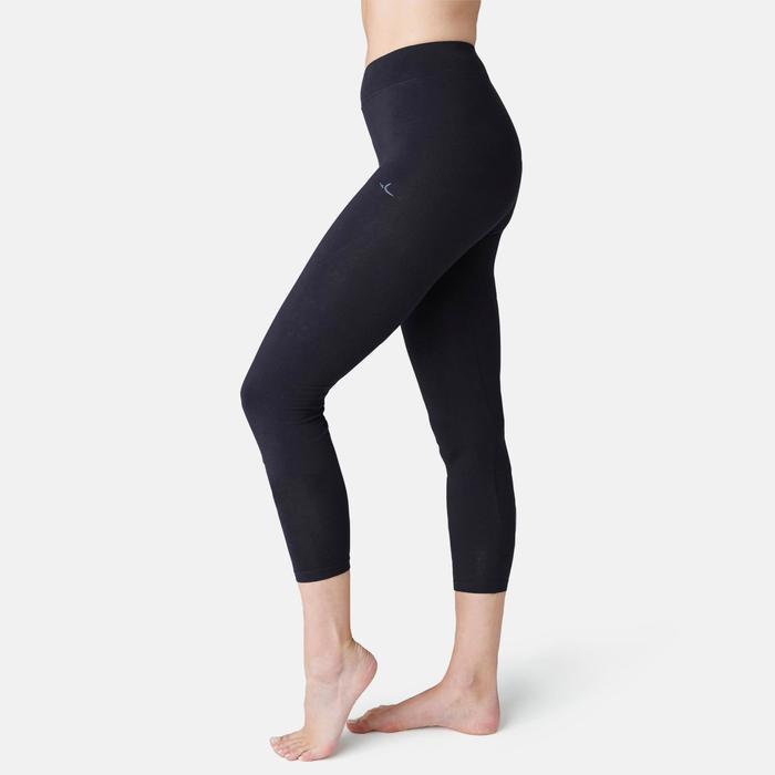 7/8-legging Fit+ 500 slim fit pilates en lichte gym dames zwart