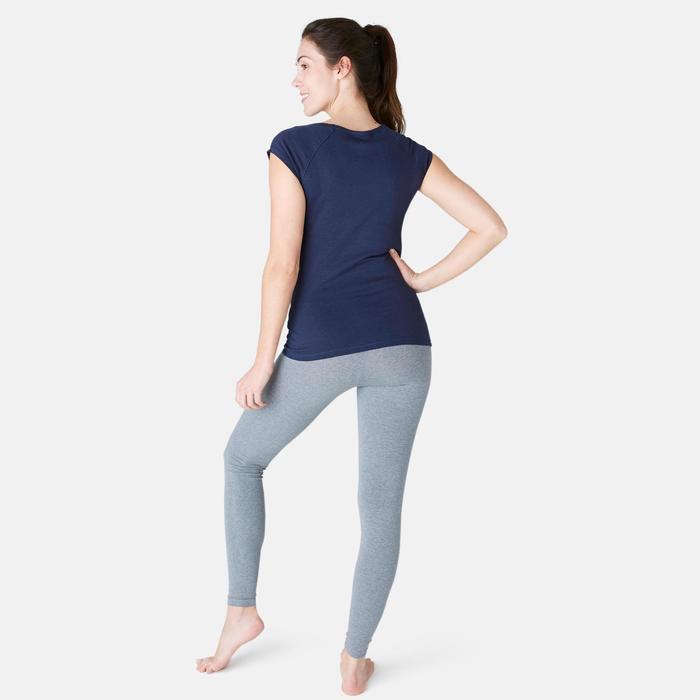 T-Shirt 500 slim Pilates Gym douce femme bleu marine
