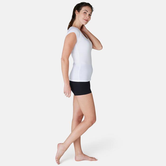 Malla short FIT+ 500 slim Pilates y Gimnasia suave mujer negro