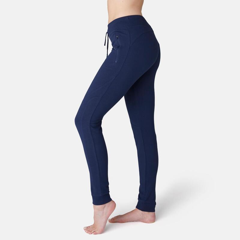 Warme fitnessbroek met ritszakken slim fit marineblauw