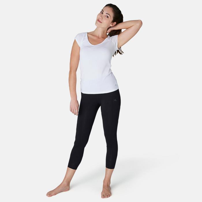 Leggings 7/8 Fit+ 500 slim Pilates y Gimnasia suave mujer negro