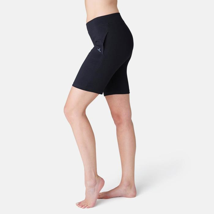 Sporthose kurz Fit+ 500 Regular Gym & Pilates Damen schwarz