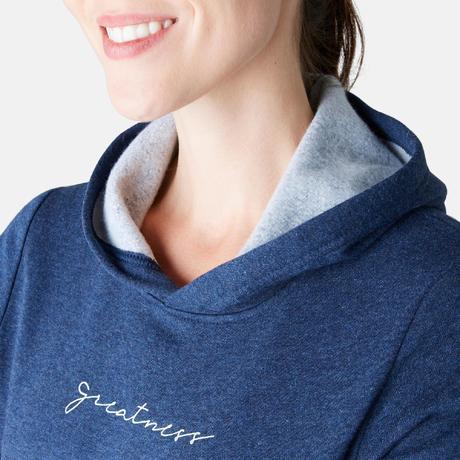 d1a3ea9ea5bc4b Dames hoodie voor pilates en lichte gym 520 blauw | Domyos by Decathlon