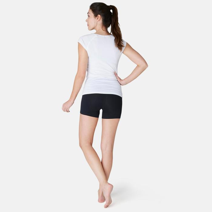 Sporthose kurz Fit+ 500 Slim Gym & Pilates Damen schwarz