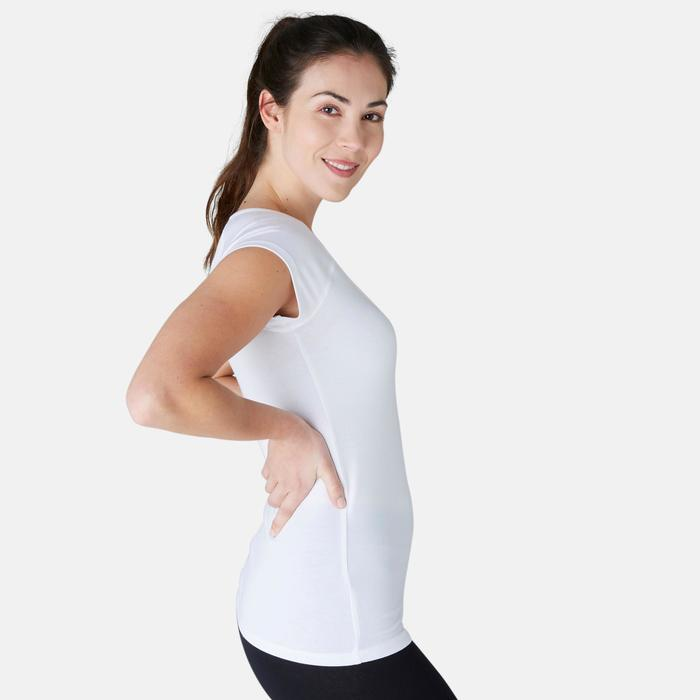 T-shirt 500 slim fit pilates en lichte gym dames wit