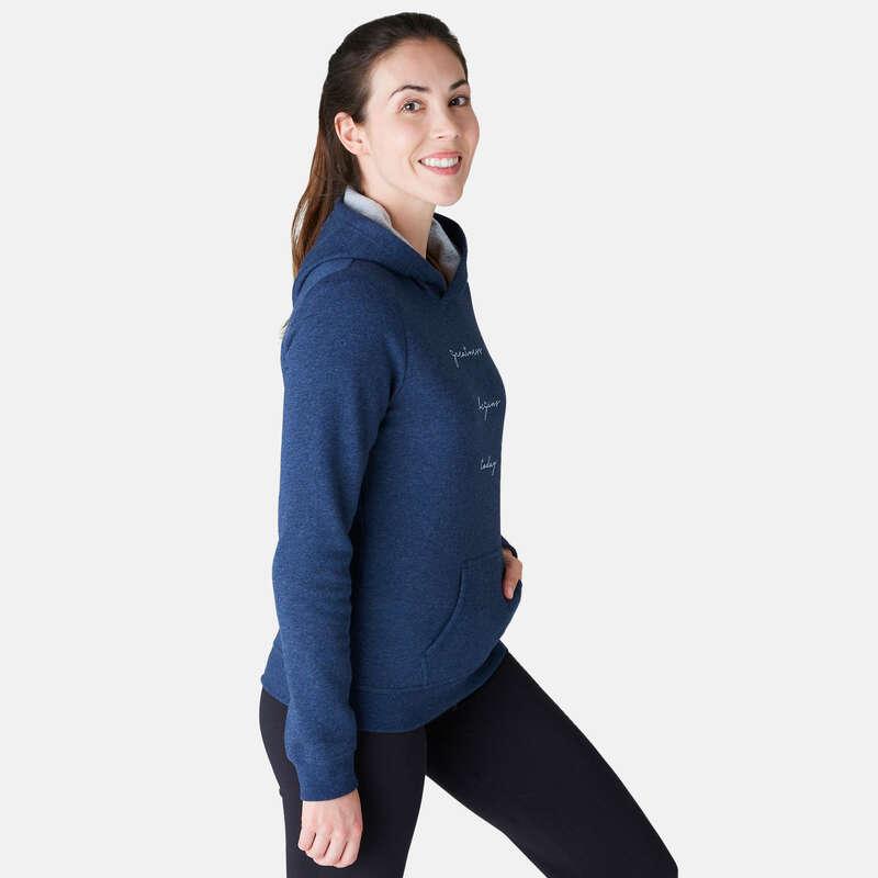 PANTALONI E GIACCHE DONNA Ginnastica, Pilates - Felpa donna gym 520 blu DOMYOS - Abbigliamento donna