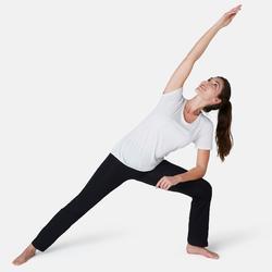 Leggings FIT+ 500 regular Pilates y Gimnasia suave mujer negro