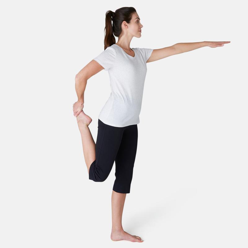 Women's Regular Fitness Cropped Bottoms Fit+ 500 - Black