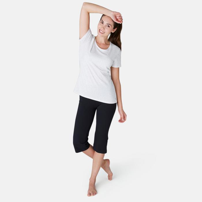 3/4-Hose Fit+ 500 Regular Gym & Pilates Damen schwarz