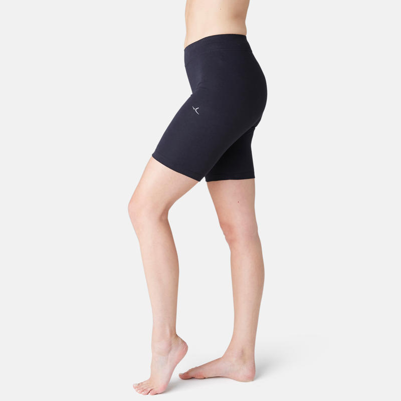 Calzas Cortas Gimnasia Pilates Domyos Fit+ 500 Slim Mujer Negro