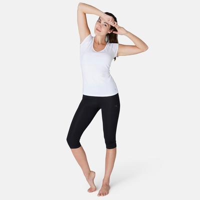 بنطلون Fit+ Slim قصير لتمارين الجيم والبيلاتس للسيدات - أسود