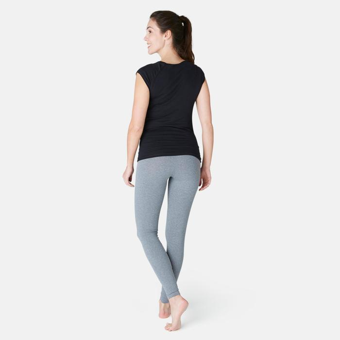 T-Shirt 500 Slim Gym & Pilates Damen schwarz