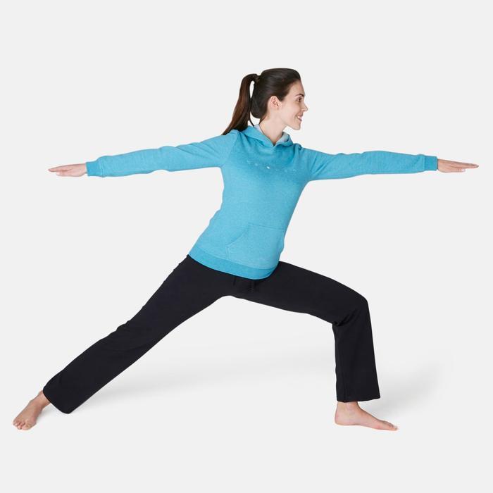 Dameshoodie voor pilates en lichte gymnastiek 520 turkoois