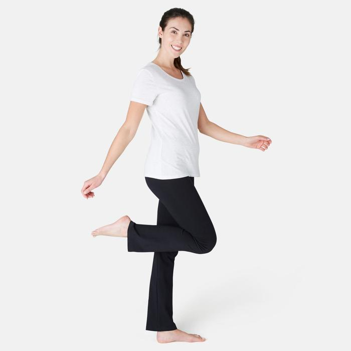 Mallas Leggings Deportivos Gimnasia Pilates Domyos FIT+500 Regular Mujer Negro
