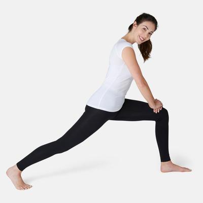 T-Shirt 500 slim Pilates Gym douce femme blanc