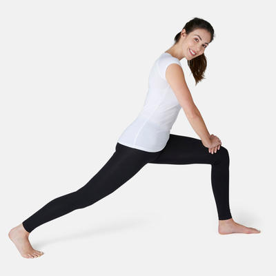T-Shirt 500 slim Pilates Gym douce femme blanc