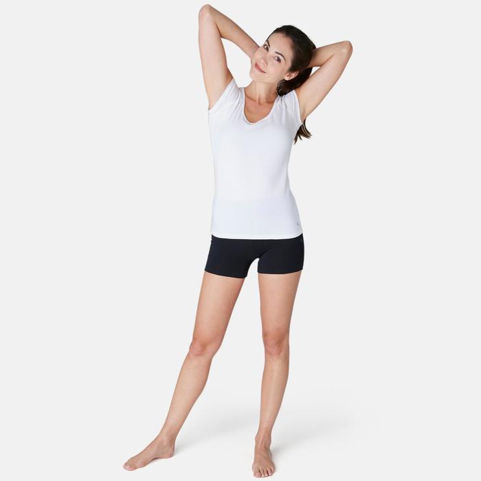 Malla Corta Short Gimnasia Pilates Domyos Fit+ 500 Slim Mujer Negro