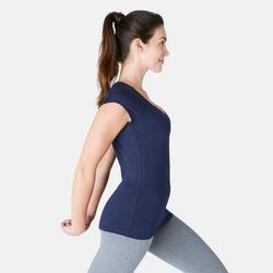 500 Women's Slim-Fit Pilates & Gentle Gym T-Shirt - Navy Blue