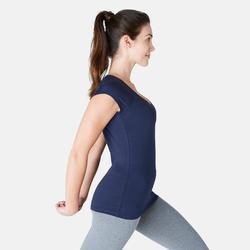 T-shirt 500 slim fit pilates en lichte gym dames marineblauw