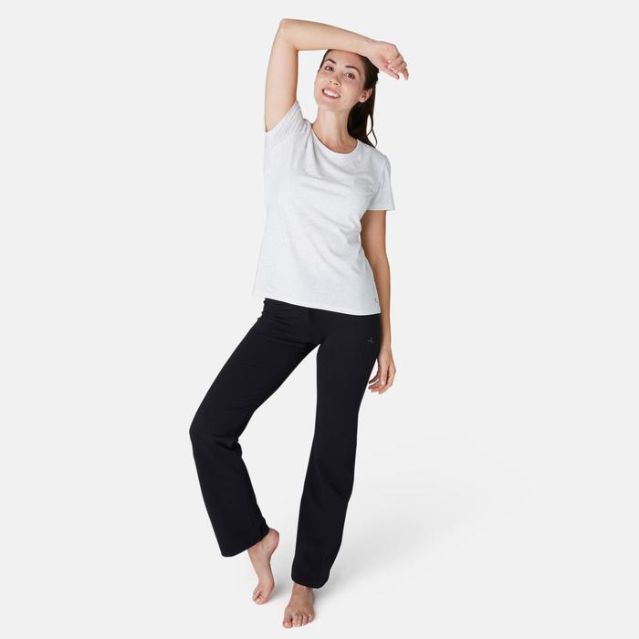 女款標準剪裁溫和健身與皮拉提斯緊身褲Comfort+ 500 - 黑色
