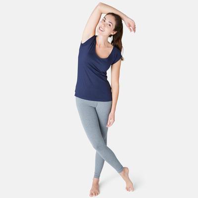 T-Shirt 500 slim Pilates Gym douce femme bleu marine