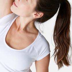 T-shirt 500 ajusté Pilates Gym douce femme blanc