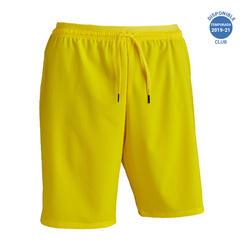Pantalón corto de fútbol adulto F500 amarillo