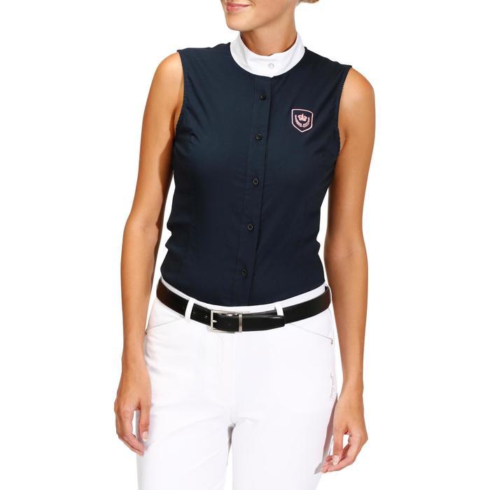 Camisa Equitación Okkso Mujer Azul Marino Sin Mangas Concurso y Competición