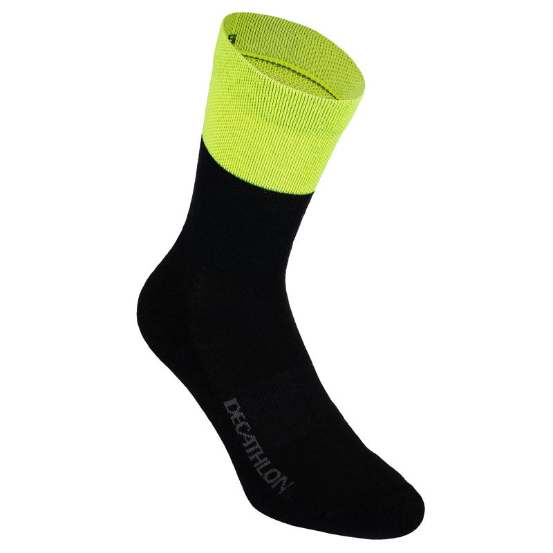500 Winter Cycling Socks - Black / Neon Yellow