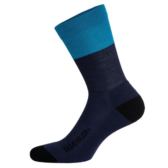 CHAUSSETTES VELO ROUTE 500 HIVER BLEU MARINE / TURQUOISE