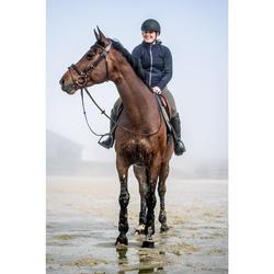 Polo d'équitation femme à manches longues et chaud 500 WARM marine
